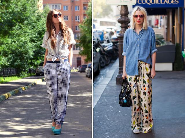 Пижамные брюки с белой и голубой рубашкой