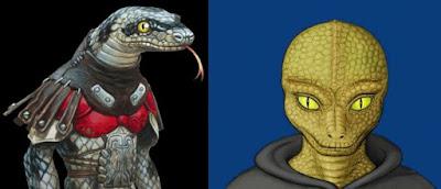 Raza szish de Idhún comparada con un reptiliano
