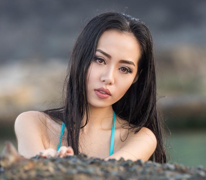Beautiful Japanese woman's face