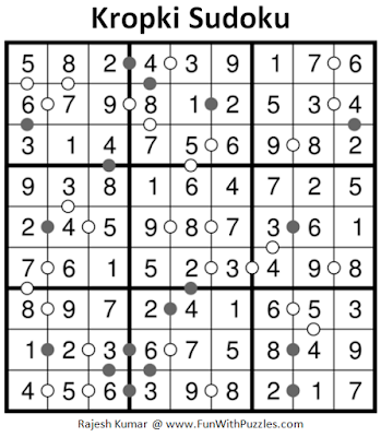 Kropki Sudoku (Daily Sudoku League #206) Puzzle Solution