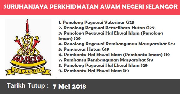 Jobs in Suruhanjaya Perkhidmatan Awam Negeri Selangor (7 Mei 2018)