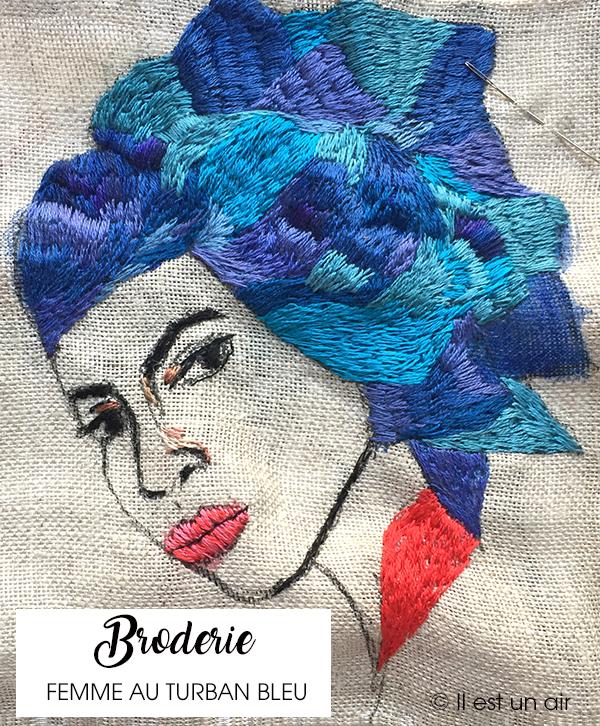 Broderie, femme au turban bleu