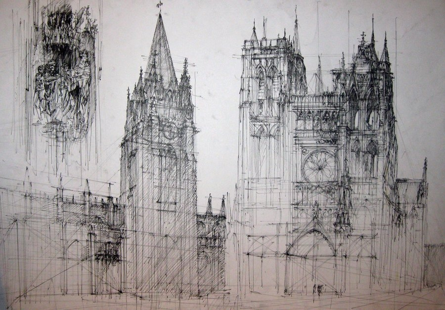02-Gothic-Cathedral-Monika-Domaszewska-Ghosted-Architectural-Drawings-www-designstack-co