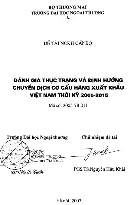 Đánh giá thực trạng và định hướng chuyển dịch cơ cấu hàng xuất khẩu Việt Nam thời kỳ 2005 – 2015