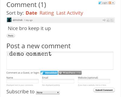Intense debate comment box enable