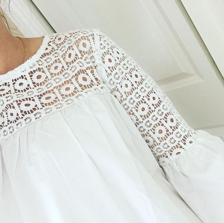 white lace and bell sleeve top