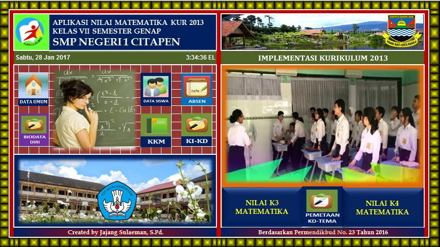 Js Aries Blog Aplikasi Nilai Matematika Kelas Vii Semester 2 Smp Mts Kurikulum 2013