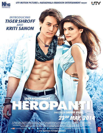 Poster Of Heropanti 2014 Hindi 400MB HDRip 480p Free Download Watch Online Worldfree4u