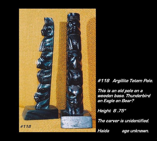 Old argillite totem pole Haida
