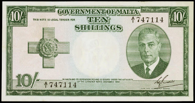 Malta Banknotes 10 Shillings banknote 1949 King George VI and the George Cross