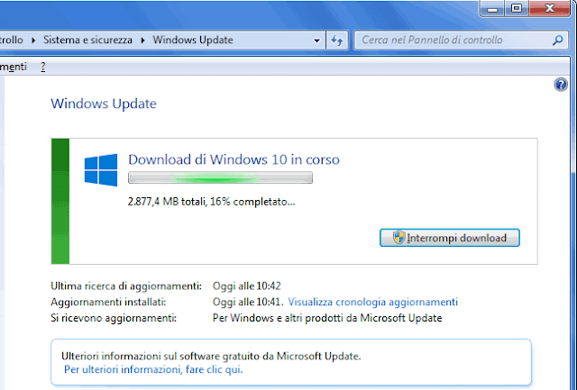 Download aggiornamento Windows 10 in Windows Update