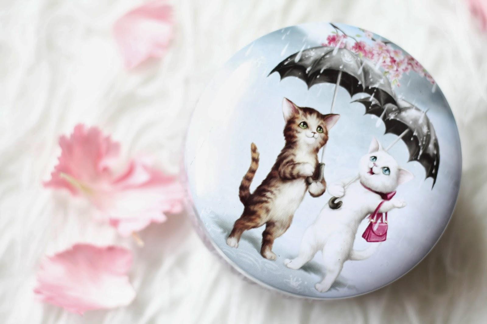 Cute trinket tin with raining cats print from Santoro London
