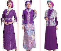 Desain Baju Batik Muslim Kombinasi Dengan Kain Polos