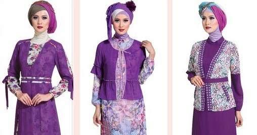 10 Desain Baju Batik Muslim Kombinasi Dengan Kain Polos Download