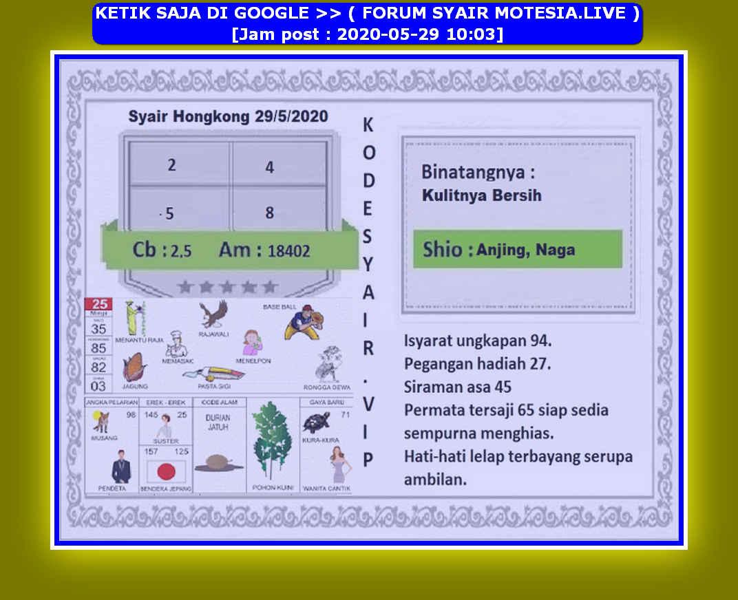 Kode syair Hongkong Jumat 29 Mei 2020 181