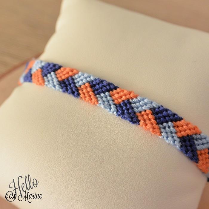 Bracelet brésilien motif tresse jaune et bleu tissé par Hello c'est Marine