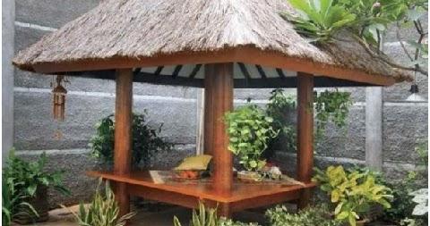 desain gazebo rumah minimalis bahan kayu dan bambu