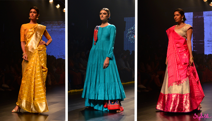 Indian models wearing sarees for designer Gaurang and Tulsi Silks at Lakme Fashion Week Winter Festive 2016 at St. Regis