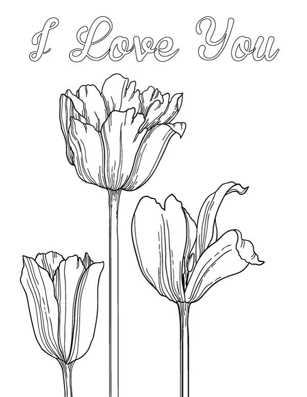 i love you coloring page with tulips free printable coloring page for mothers day