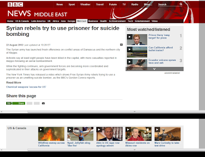 BBC: Syrian rebels try to use prisoner for suicide bombing