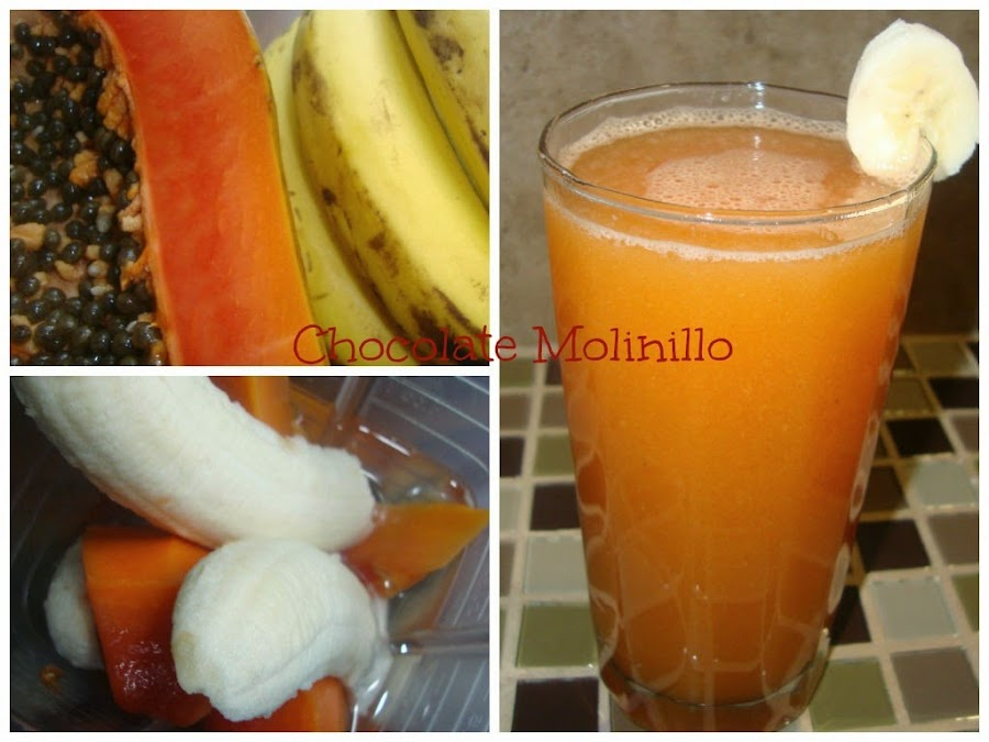 Smoothie o Batido de Papaya y Plátano