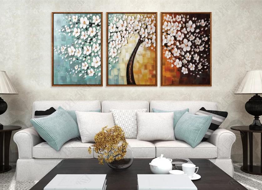 Tranh bộ 3 treo tường sơn dầu cây hoa tiền