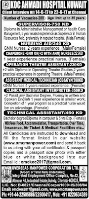 Job openings in KOC AHMADI Hospital Kuwait