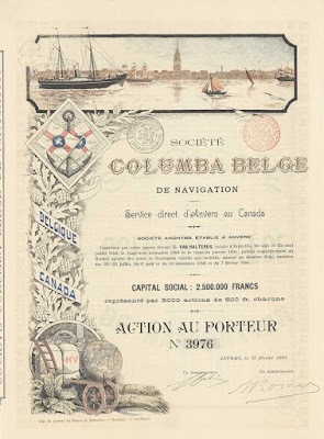 Columba Belga share from 1894 multicolor print