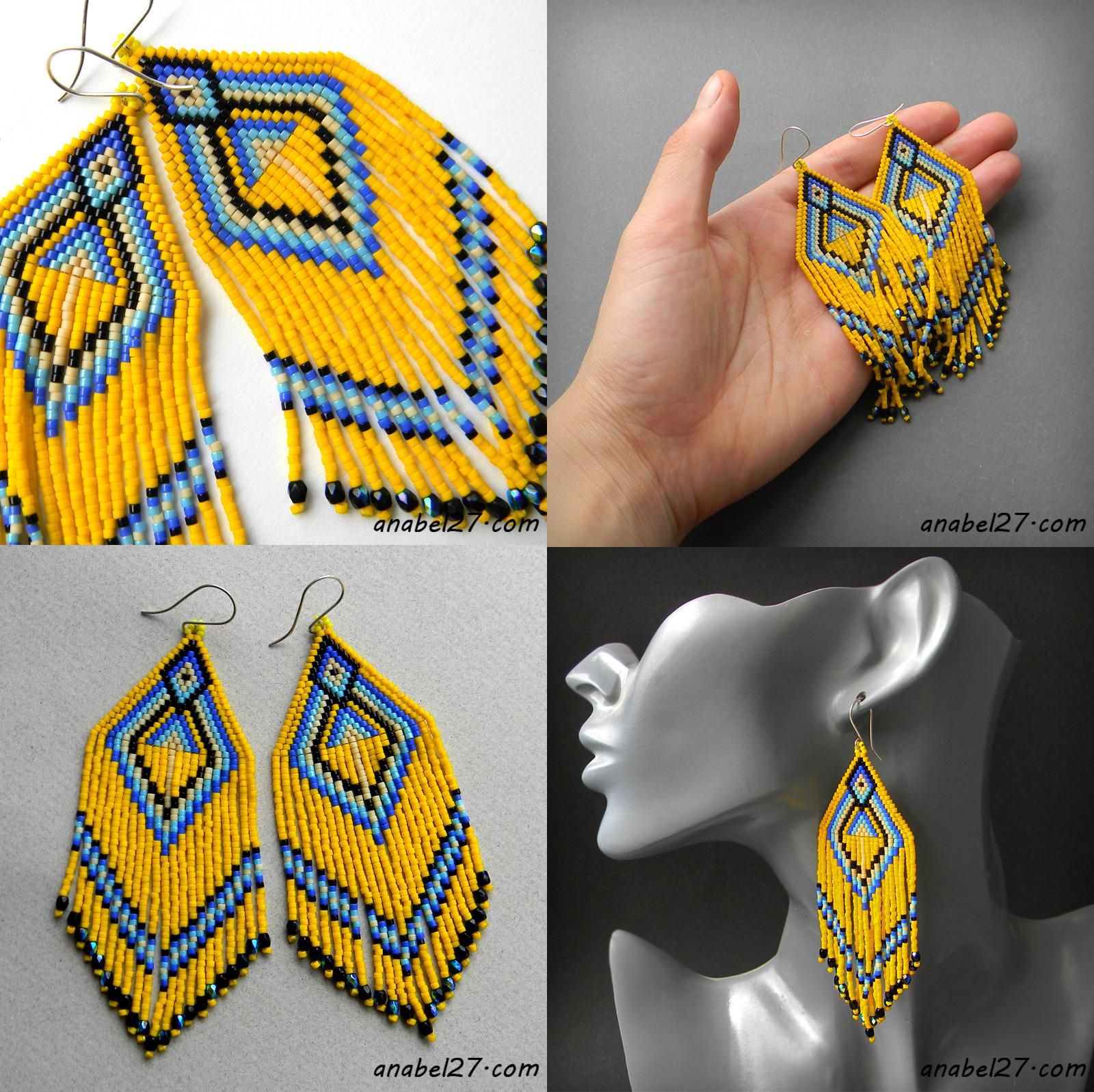 Крупные жёлтые серьги из бисера - этно-стиль