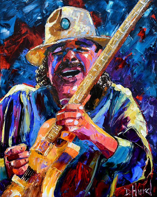 Carlos Santana art Rock Guitar Painting Texture Colorful by Debra Hurd