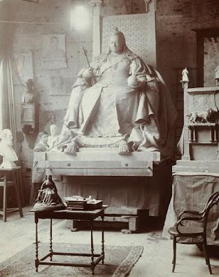 B&W photo of Model of Queen Victoria's statue in George Frampton's studio (before 1902)