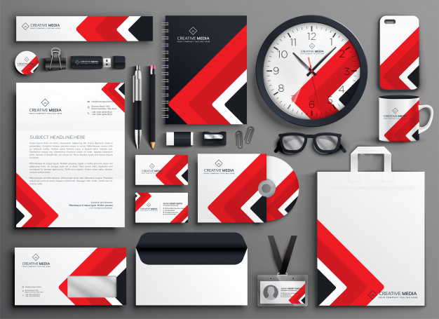 Red professional business branding stationery set Free Vector