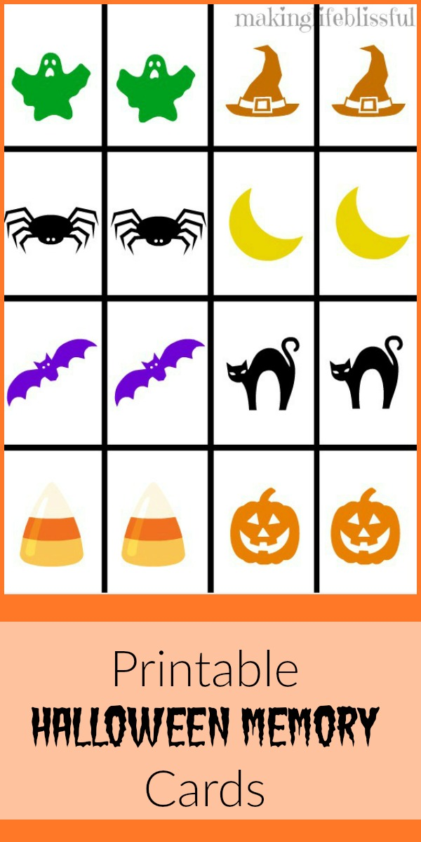 photograph relating to Printable Memory Game known as Halloween Memory Sport Free of charge Printable Generating Lifestyle Blissful