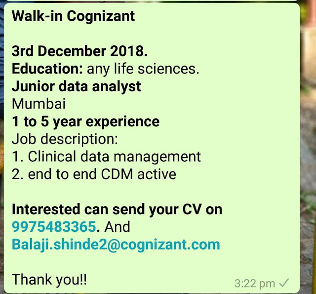Cognizant Walk-In Interview at 3 Dec.