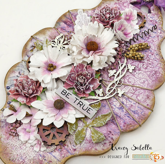 """Be True"" Mixed Media Wall Hanging by Tracey Sabella for Studio75 #Studio75 #mixedmedia #mixedmediaart #shabbymixedmedia #shabbychic #shabbychicart #finnabair #primamarketing #49andmarket #timholtz #helmar #lindysgang #rangerink"