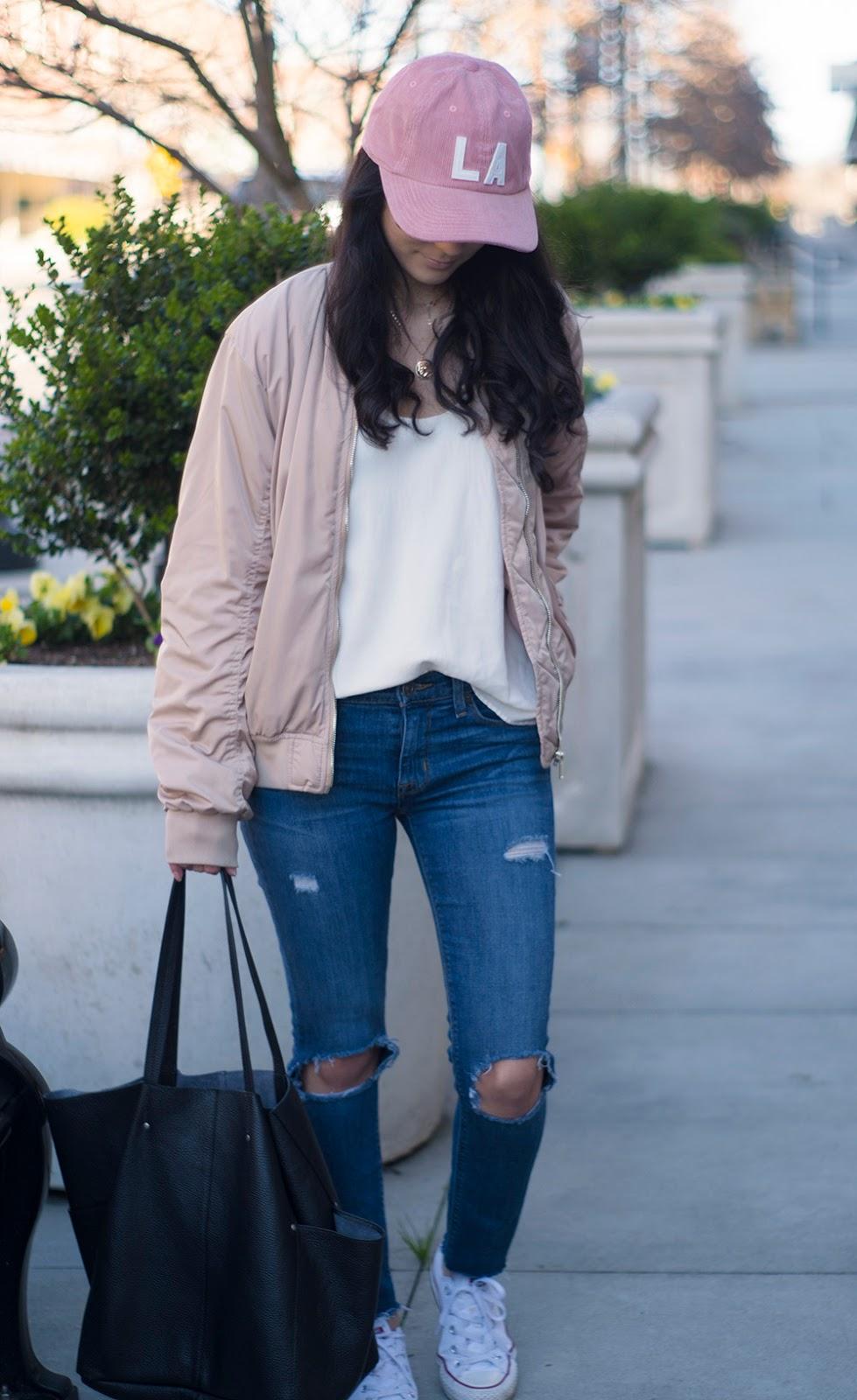 Hudson nico distressed skinny jeans, grana silk cami, hm bomber jacket, white converse
