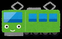 電車のキャラクターのイラスト(緑)