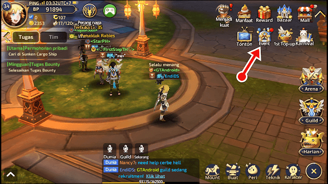 Cara Claim Reward Dragon nest M