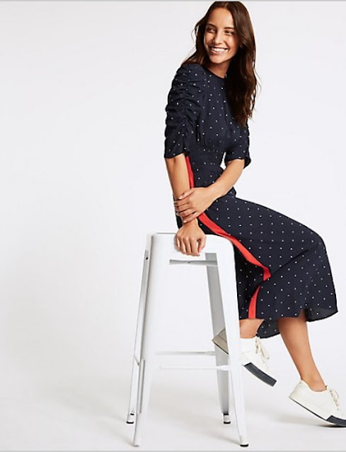 marks and spencer star print half sleeve swing midi dress