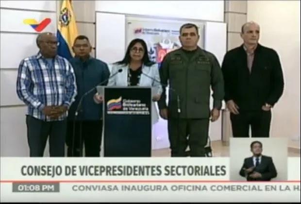 Delcy Rodríguez: Rechazamos el adefesio de los golpistas que piden la intervención militar