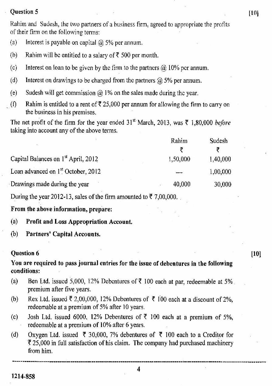 isc 2014 class 12th Accountancy question paper