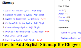 How to Add Stylish Sitemap for Blogger with Pictures
