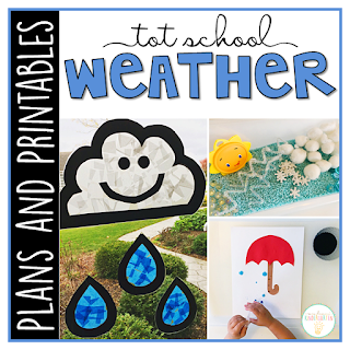 Tot School & Toddler Curriculum Made Easy! This Tot School: Weather resource has everything you need for a week packed full of weather themed fun and learning. Weekly plans, materials, printables and goals for pre-academic, fine motor, and gross motor skills practice, along with snack ideas, and sensory bin plans are all included in this download!