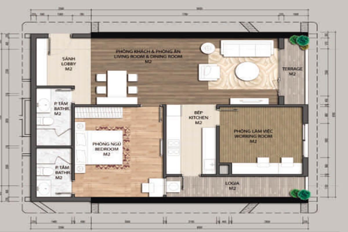 Mặt bằng căn hộ B2-1 phòng ngủ – 93.9m2