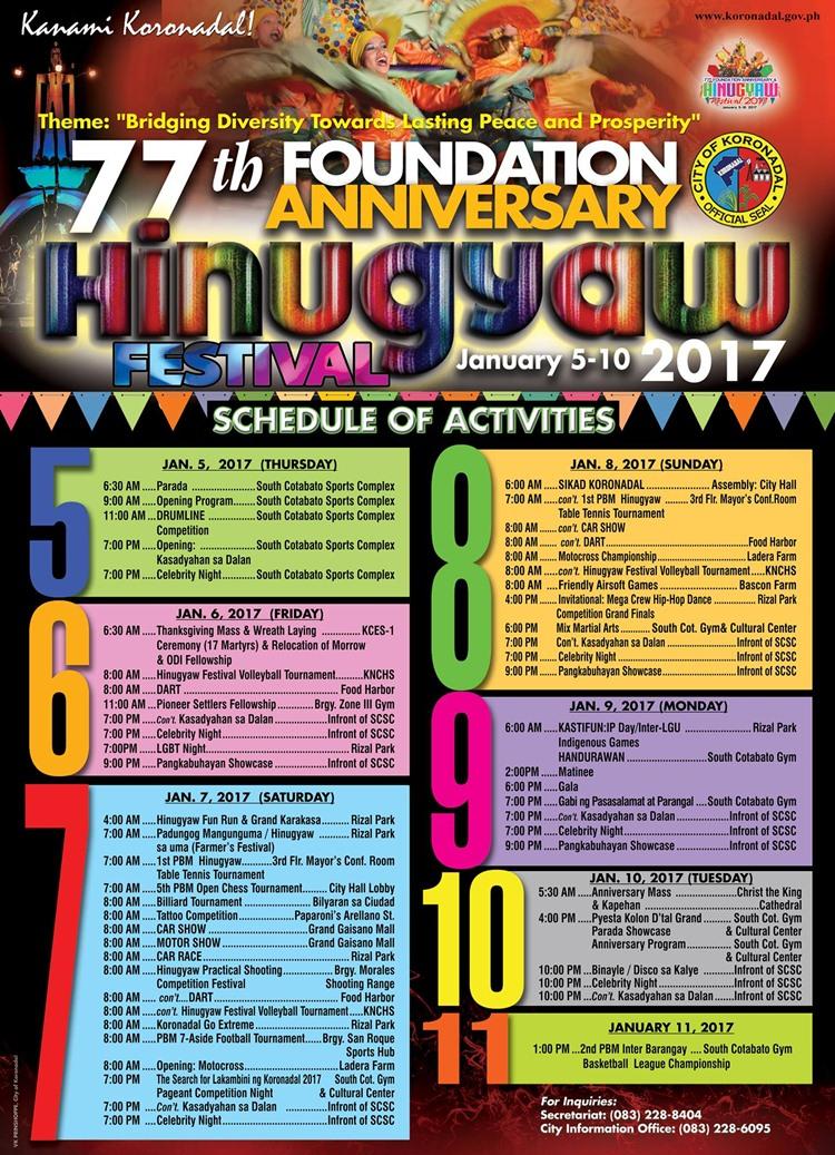Hinugyaw Festival 2017 Schedule of Activities