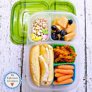 Lunch box fun with a grilled chicken breast mini sub sandwich on a potato (hot dog) roll. In our @easylunchboxes #lunchboxideas