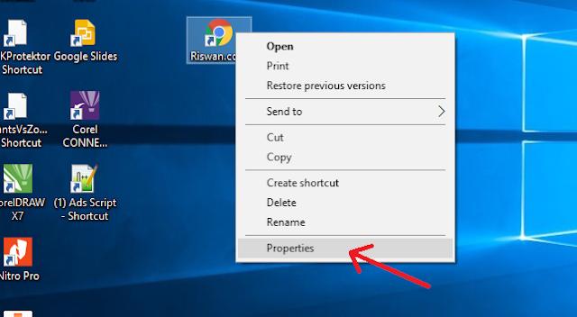 Membuat Shortcut website di windows 10