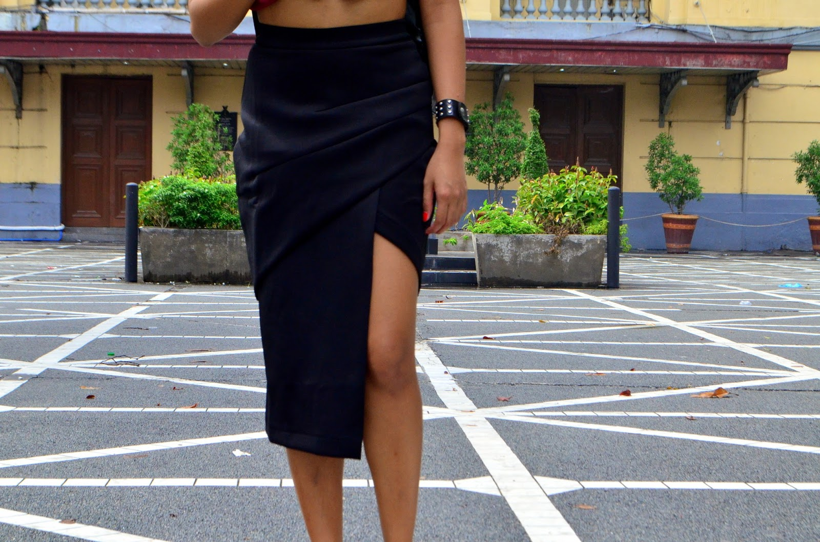 Zalora architectural fold skirt