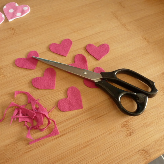 dark pink felt fabric hearts to make bunting