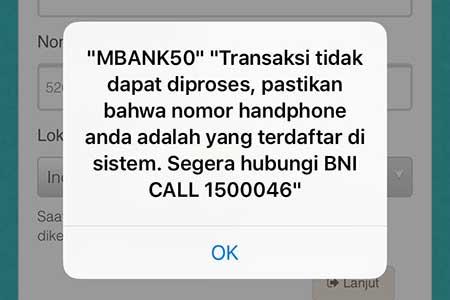 """Mengatasi """"MBANK50"""" di Aplikasi BNI Mobile Banking"""